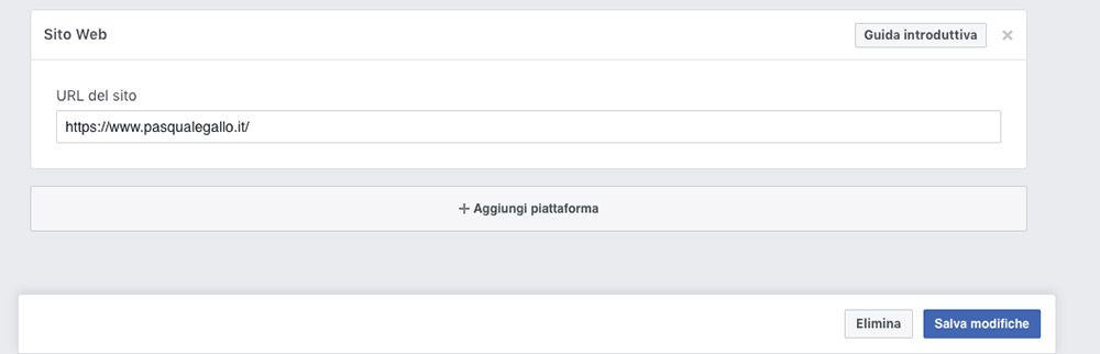 Configura l'app su Facebook per Developers