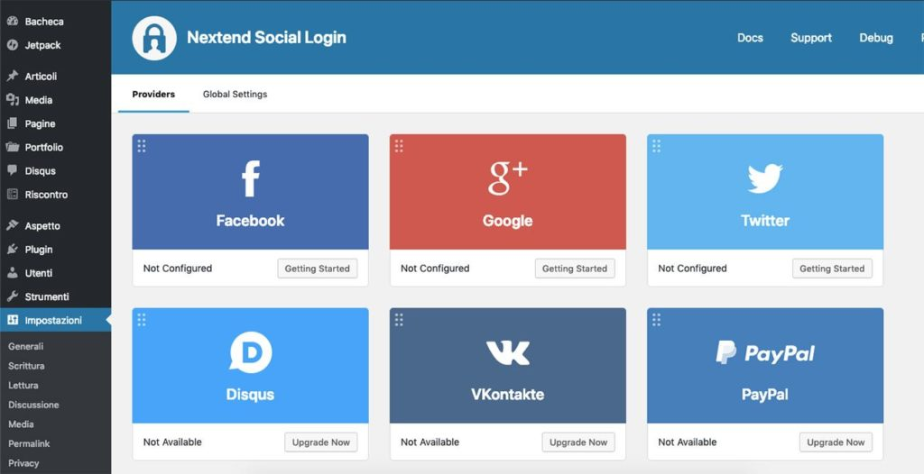 Nextend Social Login Settings