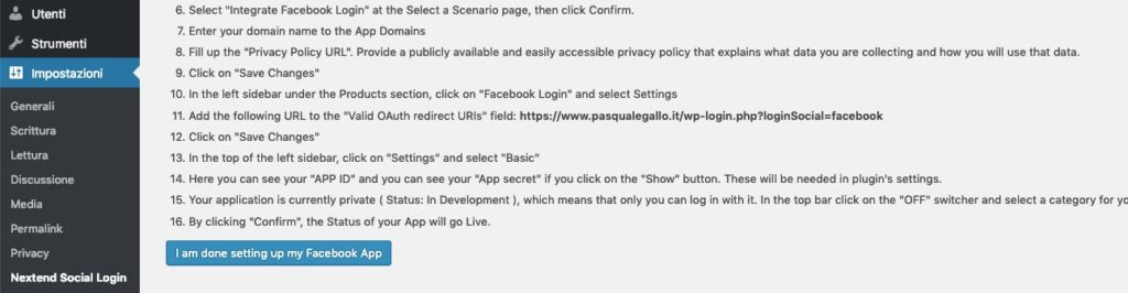 Nextend Social Login Facebook App Settings